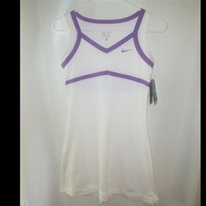 NWT Nike Girls White & Purple Tennis Dress